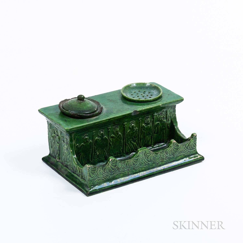 Green-glazed Pottery Inkwell