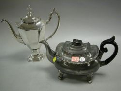 Pewter Teapot and Reed & Barton Silver Plated Coffeepot.