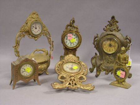 Six Gilt Cast Metal Mantel and Table Clocks
