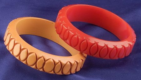 Two Bakelite Carved Bangles