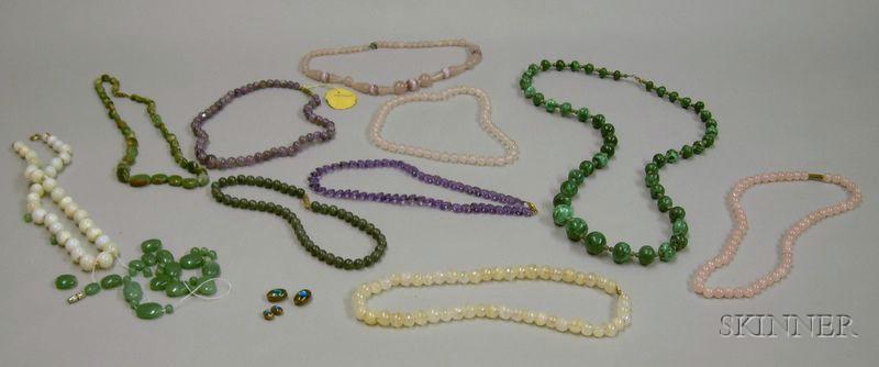 Ten Hardstone Beaded Necklaces