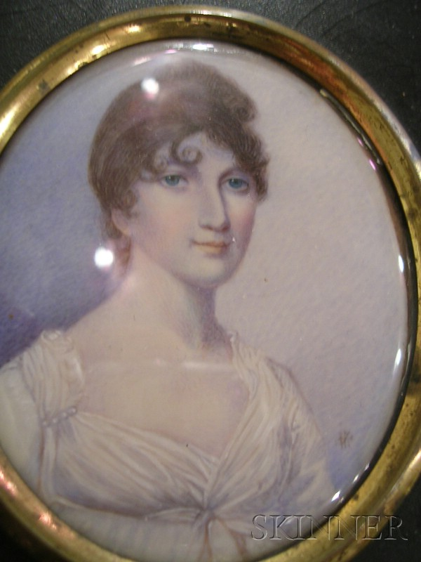 English Painted Miniature Portrait on Ivory
