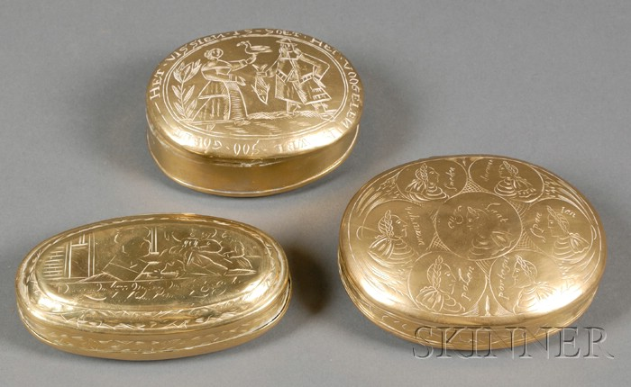 Three Continental Engraved Brass Snuff Boxes