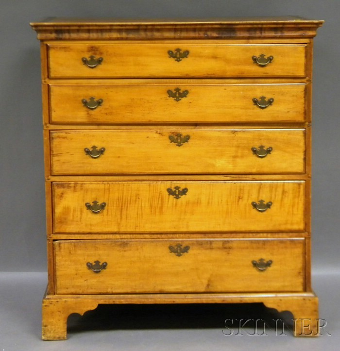 Chippendale Maple and Pine Five-drawer Chest