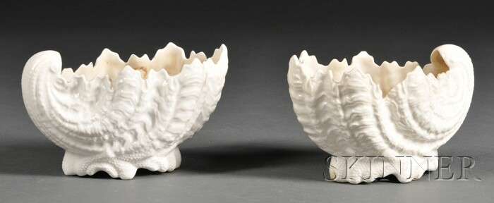 Pair of Coalport Shell-form Bone China Dishes