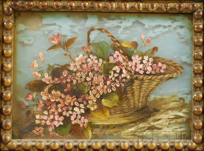 Late 19th Century American School Oil on Glass Basket of Flowers Still Life