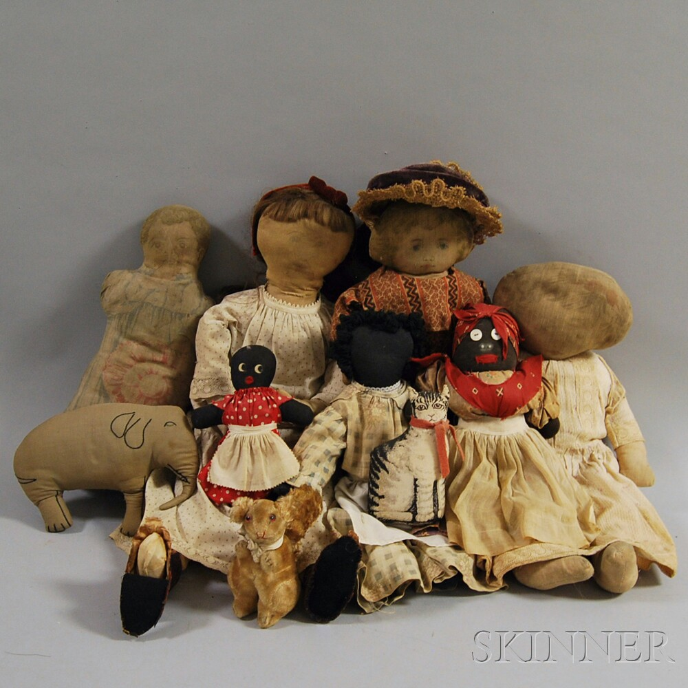 Group of Cloth Dolls and Stuffed Animals