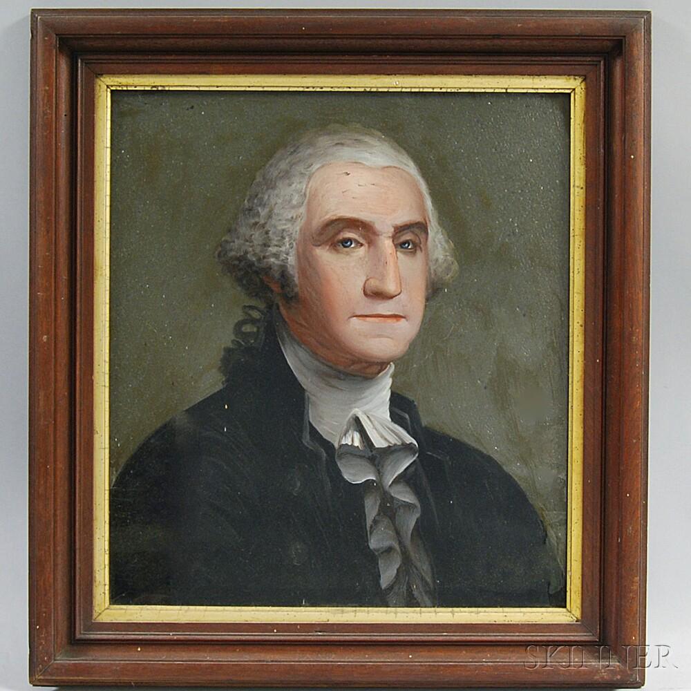 Framed Reverse-painted Portrait of George Washington