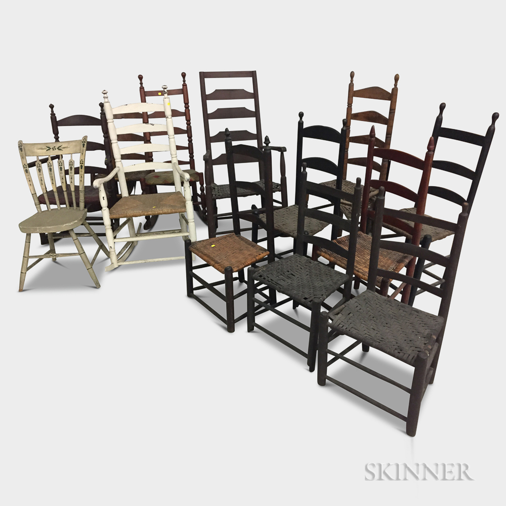 Thirteen Painted Side and Armchairs.     Estimate $100-200