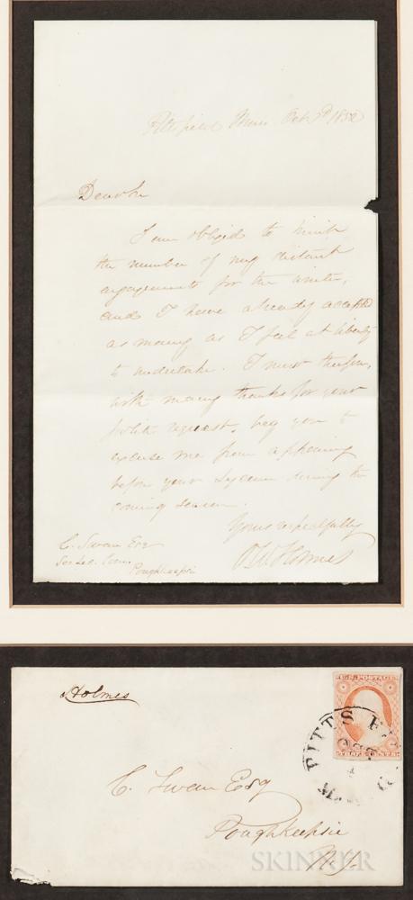 Holmes, Oliver Wendell Sr. (1809-1894) Autograph Letter Signed, 3 October 1852.