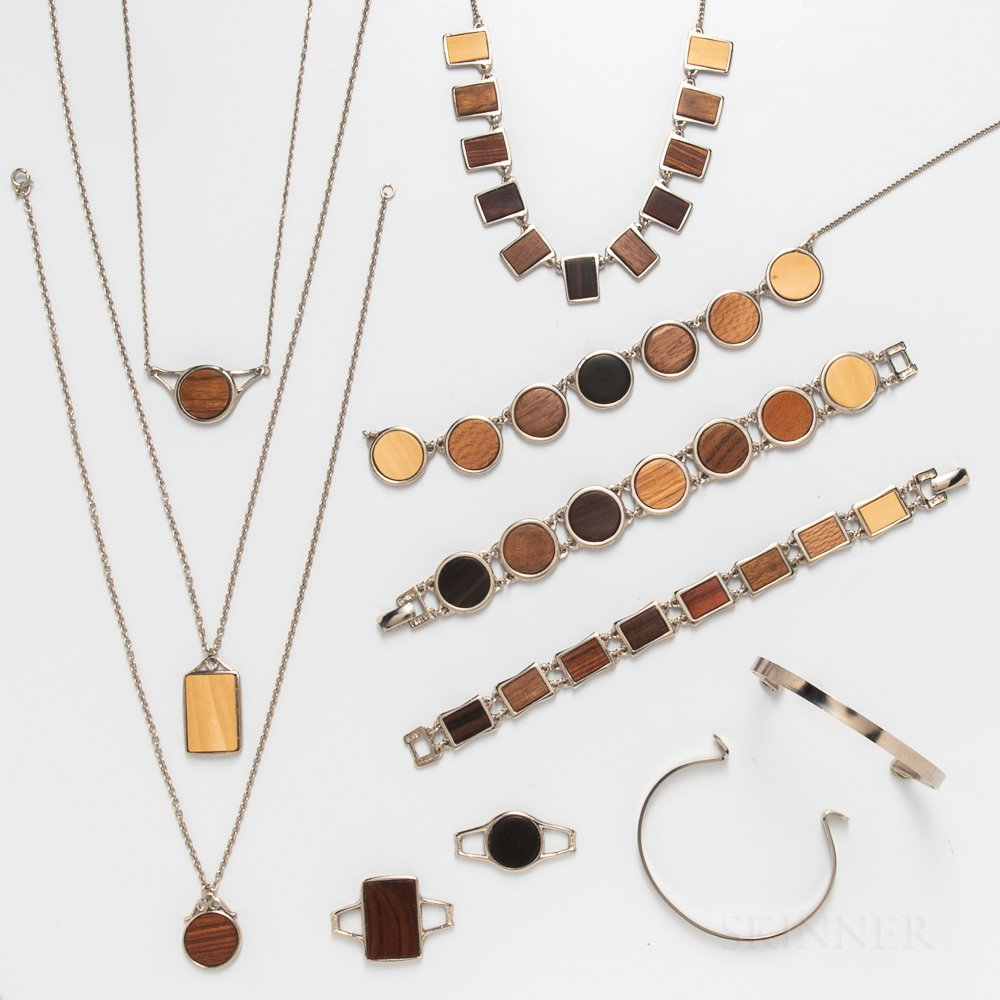 Group of Laminated Sycamore Jewelry
