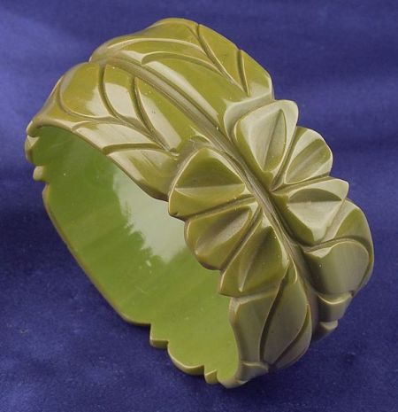 Bakelite Carved Wide Olive Green Floral Bangle