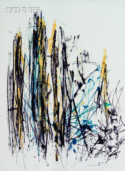 Joan Mitchell (American, 1925-1992) Arbres (Black, Yellow, and Blue)Joan...