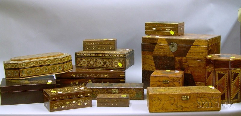 Approximately Thirteen Assorted Inlaid and Pyrography Decorated Boxes.