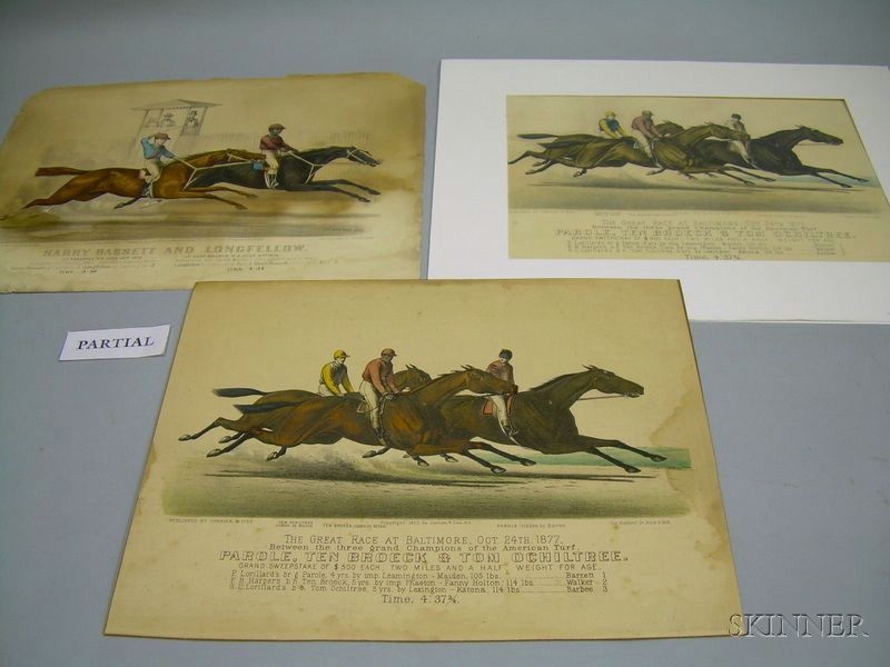 Five N. Currier and Currier & Ives Hand-colored Lithograph Race Horses Prints