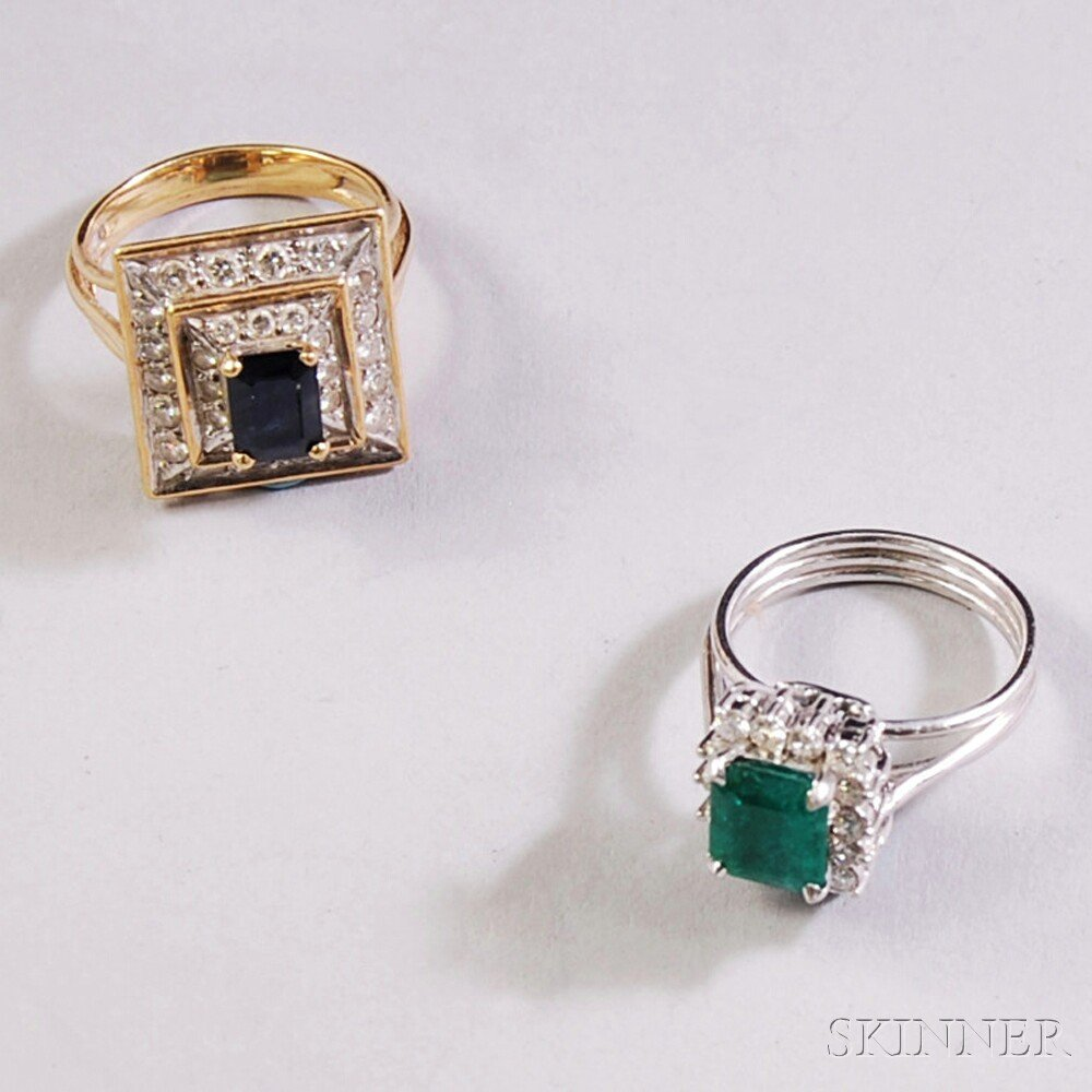 Two 14kt Gold, Gemstone, and Diamond Rings