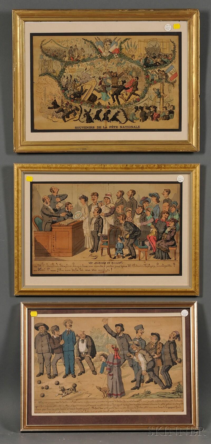 Edmond Lavrate (French, 1829-1888)      Three Framed Satirical Cartoons: Souvenir de la Fête Nationale, Un Mariage de Raison