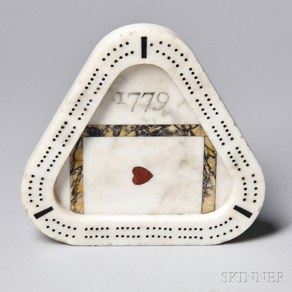 Engraved Limestone Inlay : Triangular carved inlaid marble quot cribbage board