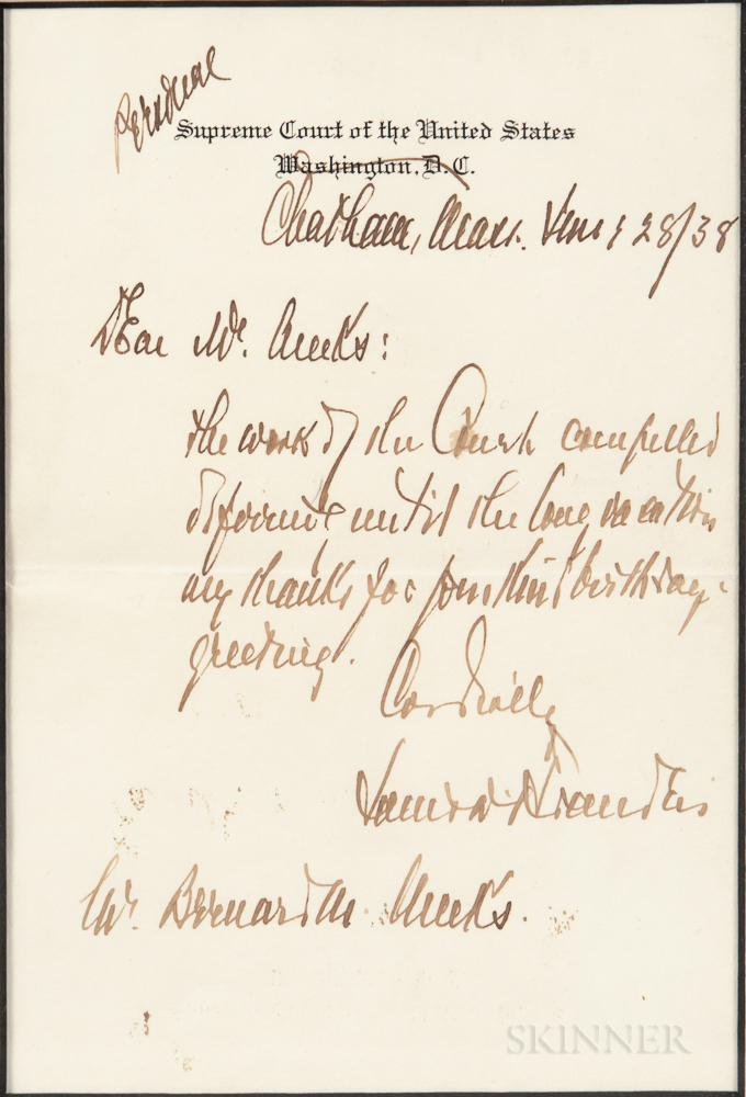 Brandeis, Louis (1856-1941) Autograph Letter Signed, Chatham, Massachusetts, 28 June 1938.