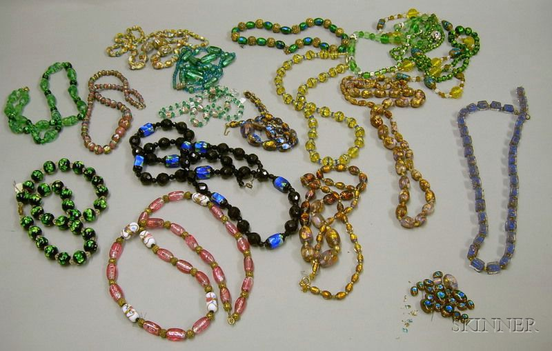 Assortment of Art Glass Beaded Necklaces.