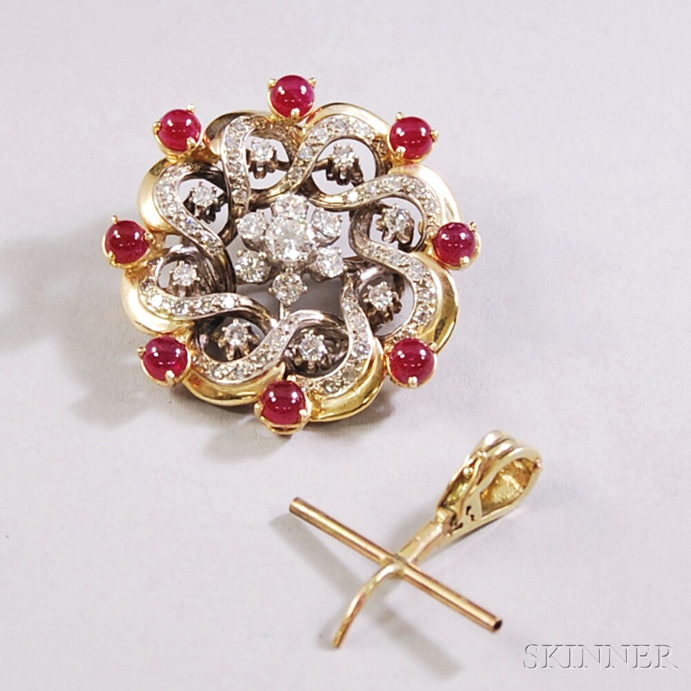 14kt Gold, Diamond, and Cabochon Ruby Brooch