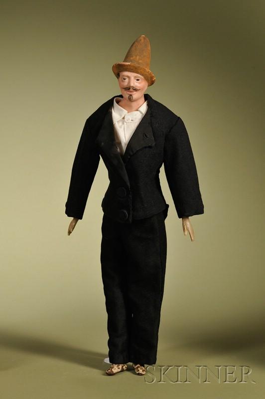 Papier-mache Gentleman with Molded Hat