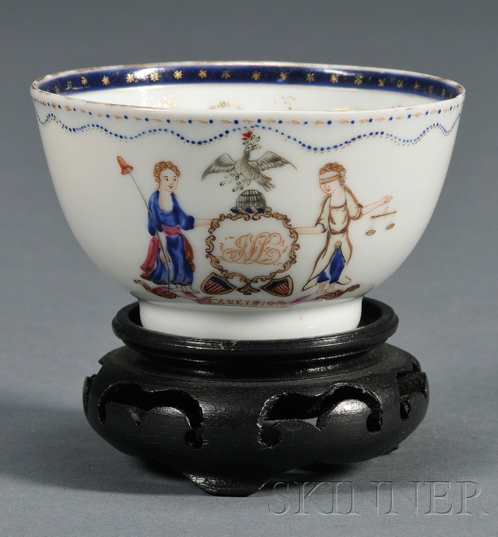 Chinese Export Porcelain New York State Coat of Arms Tea Bowl