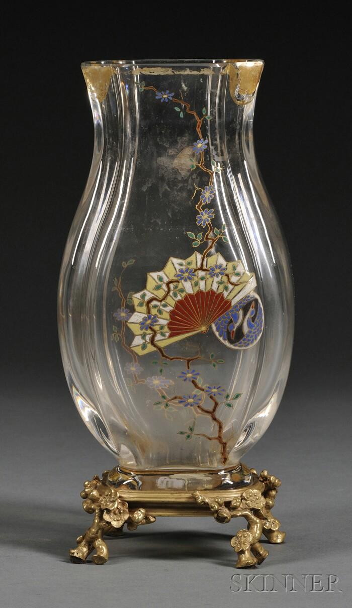 French Gilt-bronze Mounted Enameled Glass Vase