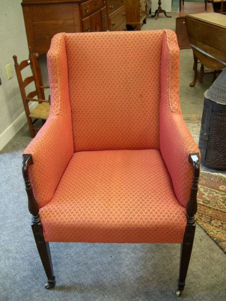 Federal-style Red Upholstered Mahogany Easy Chair.