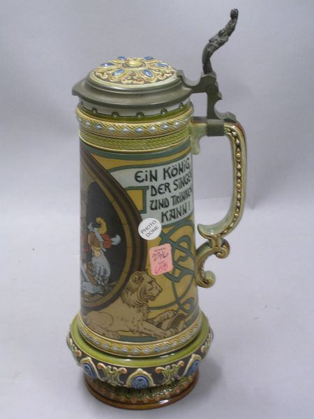 Mettlach Jeweled Etched Men Drinking and Singing Decorated Lidded Stoneware Stein