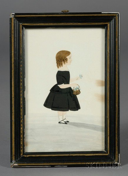 American School, 19th Century      Portrait of a Little Girl in a Black Dress Holding a Basket of Flowers.