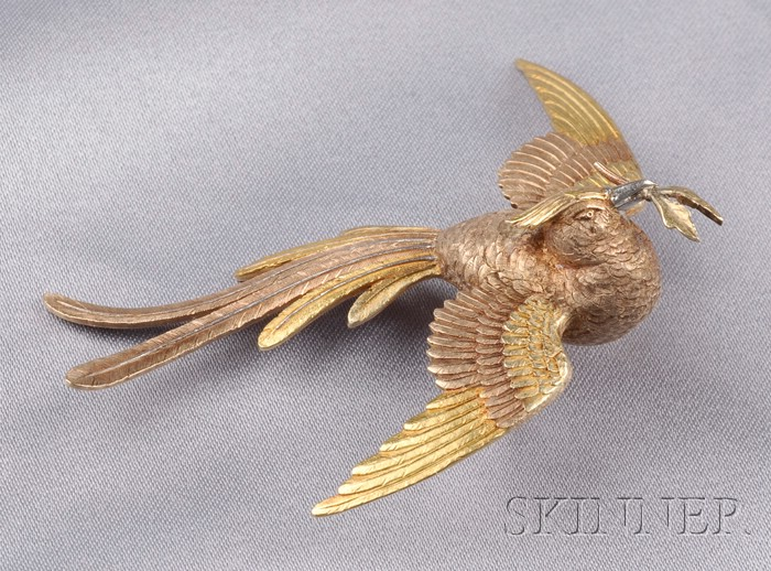 Antique 18kt Bicolor Gold and Platinum Bird Brooch