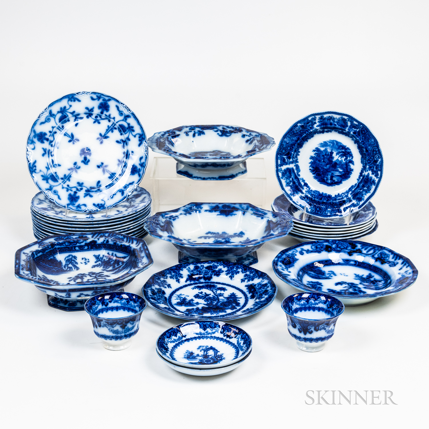 Group of Flow Blue China Tableware