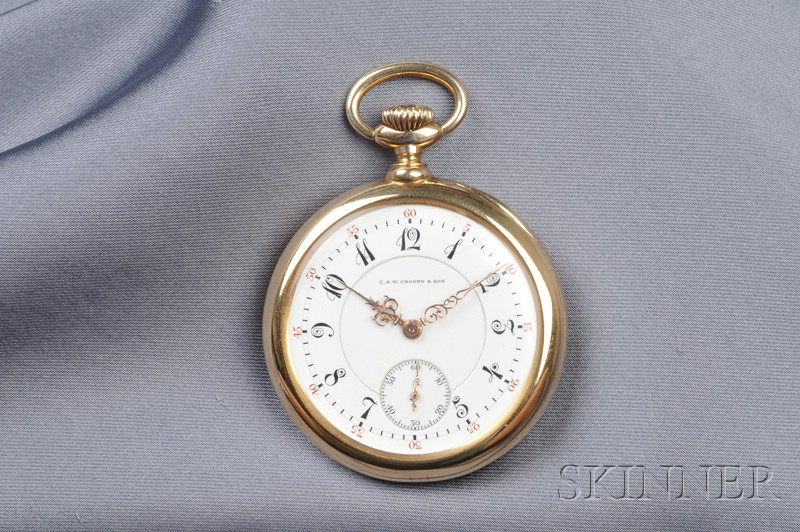 Antique 18kt Gold Open Face Pocket Watch, C.A.W. Crosby & Son, Boston