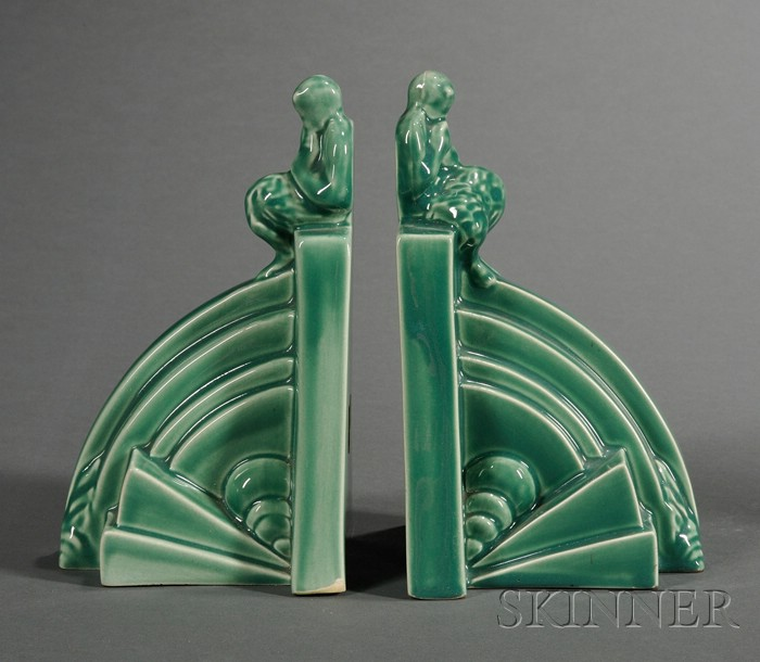 Pair of Wedgwood Green Glazed Art Deco Style Bookends