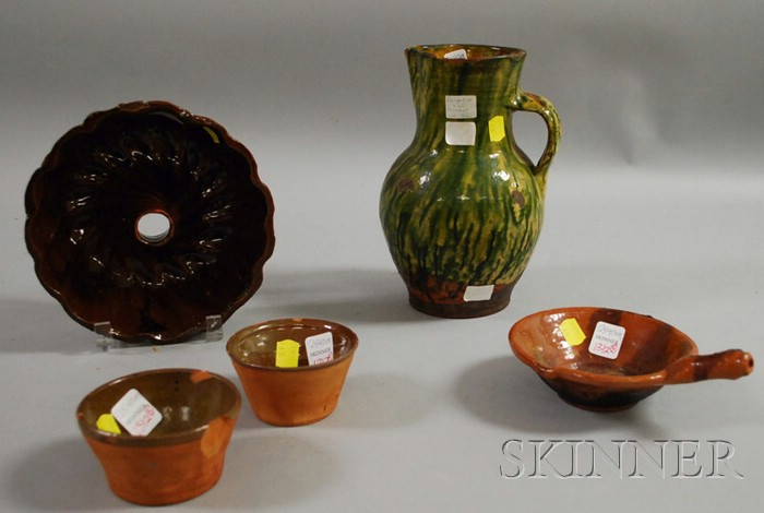 Glazed Redware Jug, Culinary Mold, and Three Small Bowls.