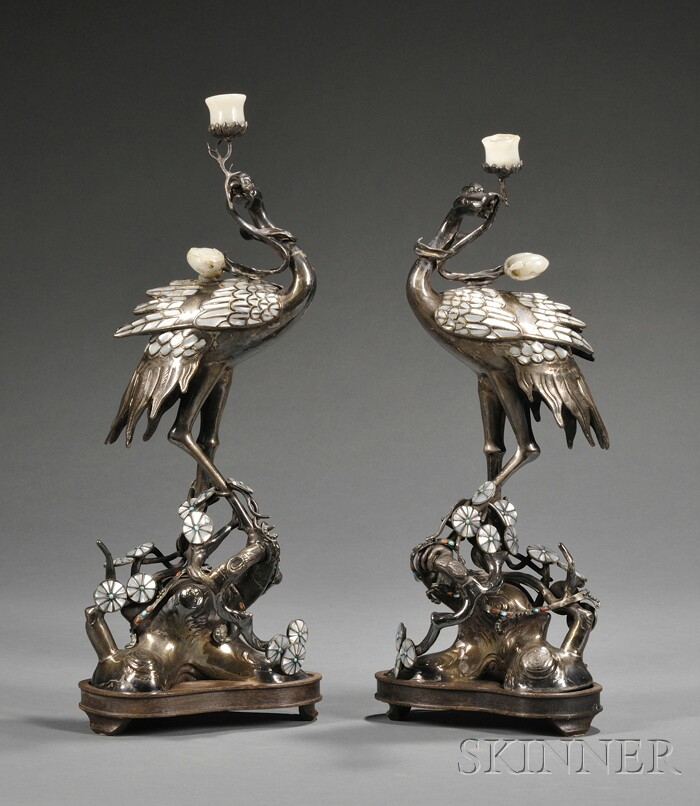 Pair of Chinese Silver-plate Crane-form Candlesticks