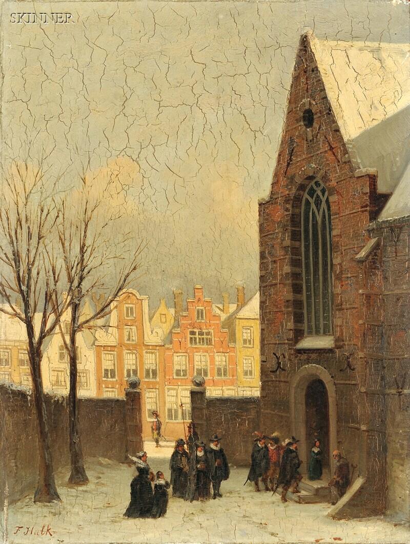 Johannes Frederik Hulk the Elder (Netherlandish, 1829-1911)      Going to Church, Antwerp