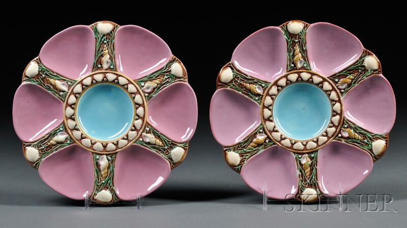 Pair of Minton Majolica Oyster Plates