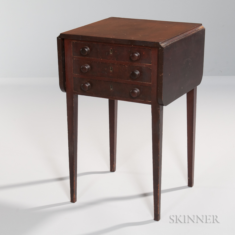 Drop-leaf Mahogany and Mahogany Veneer Three-drawer Worktable