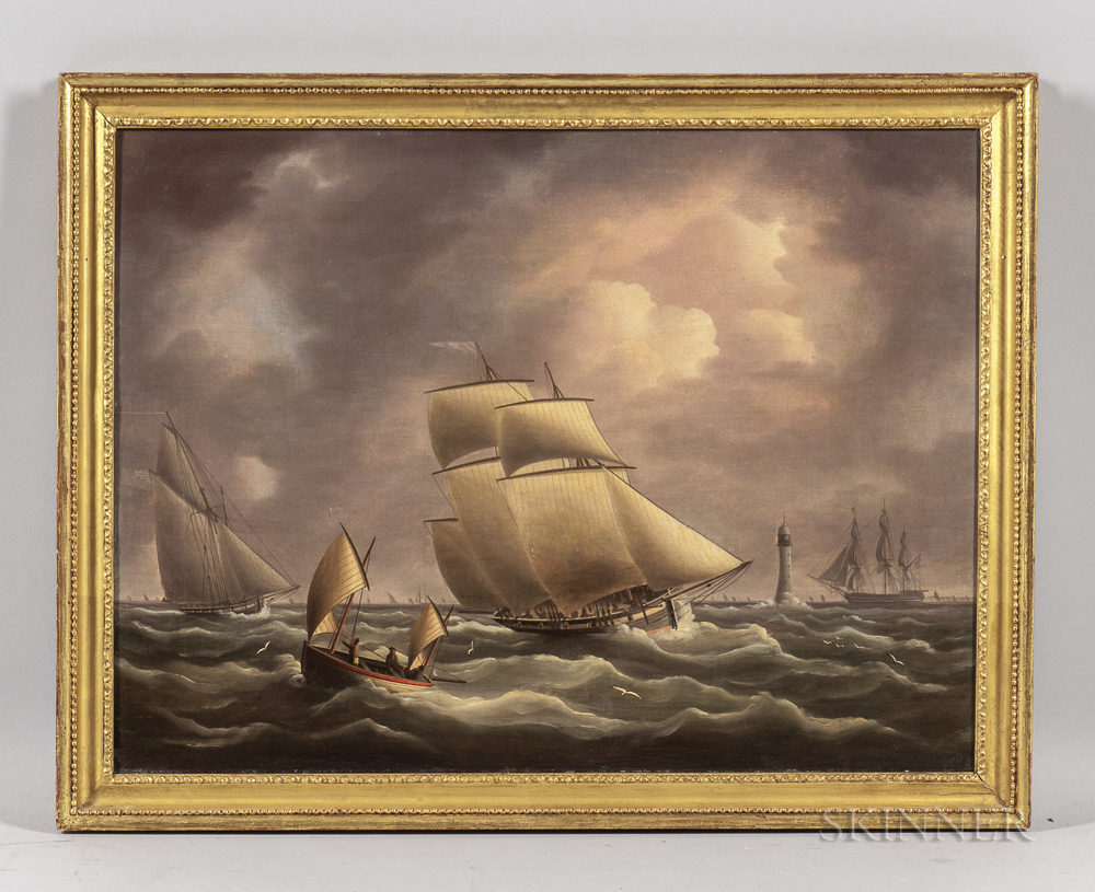 Thomas Buttersworth Jr. (English, 1797-1842)      An Armed Customs Cutter Pursuing a Smuggling Lugger off the Eddystone Lighthouse