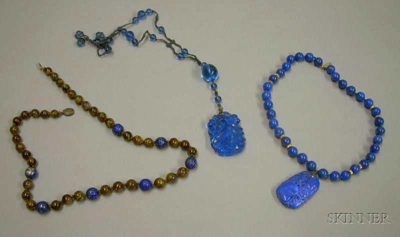 Three Asian Export Glass, Lapis, and Quartz Beaded Necklaces.