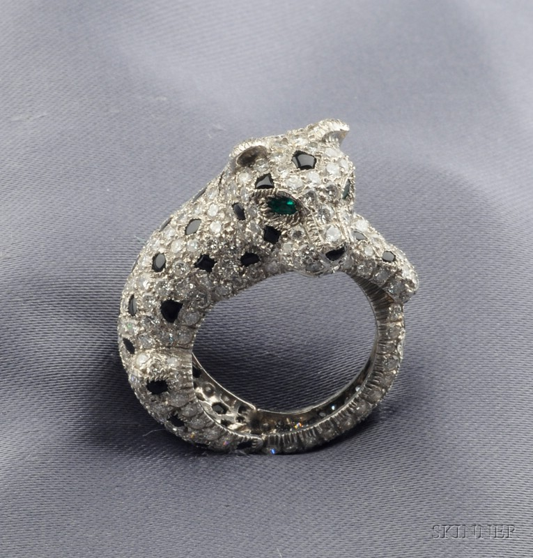 Platinum, Diamond, Onyx, and Emerald Panther Ring, Cartier, Paris
