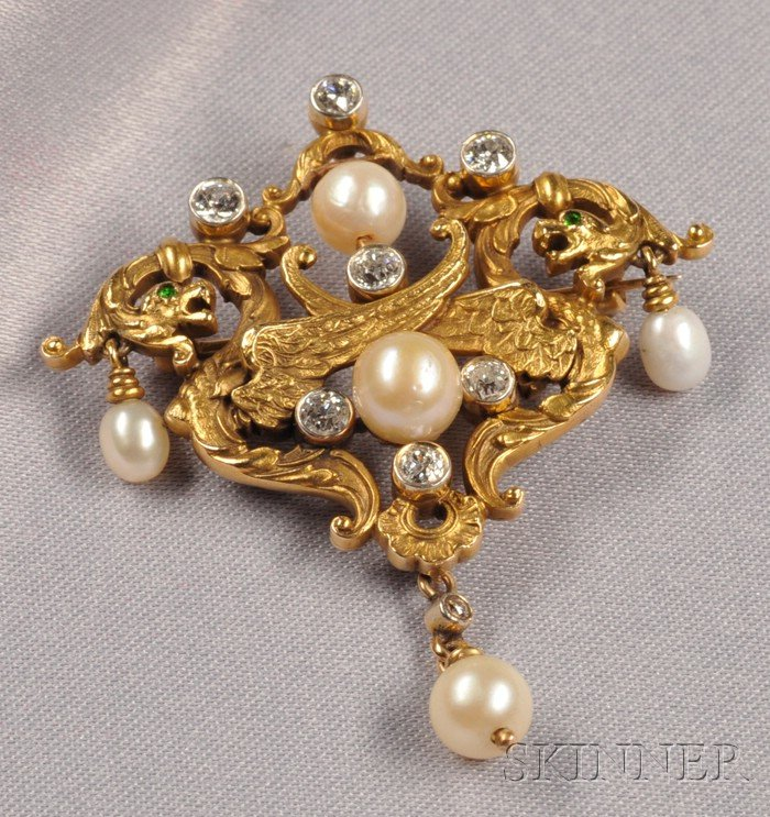 Art Nouveau 14kt Gold, Diamond, and Pearl Pendant/Brooch