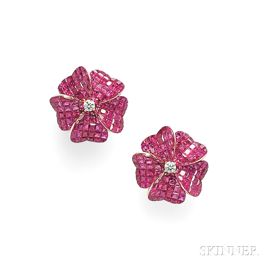 18kt Rose Gold and Ruby Earclips