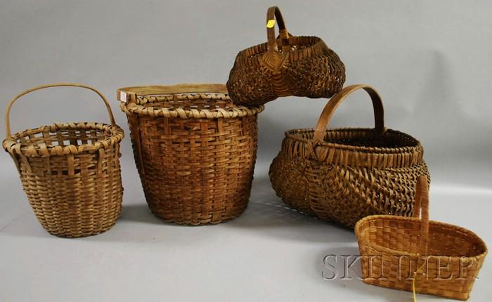 Five Woven Splint Open Baskets.