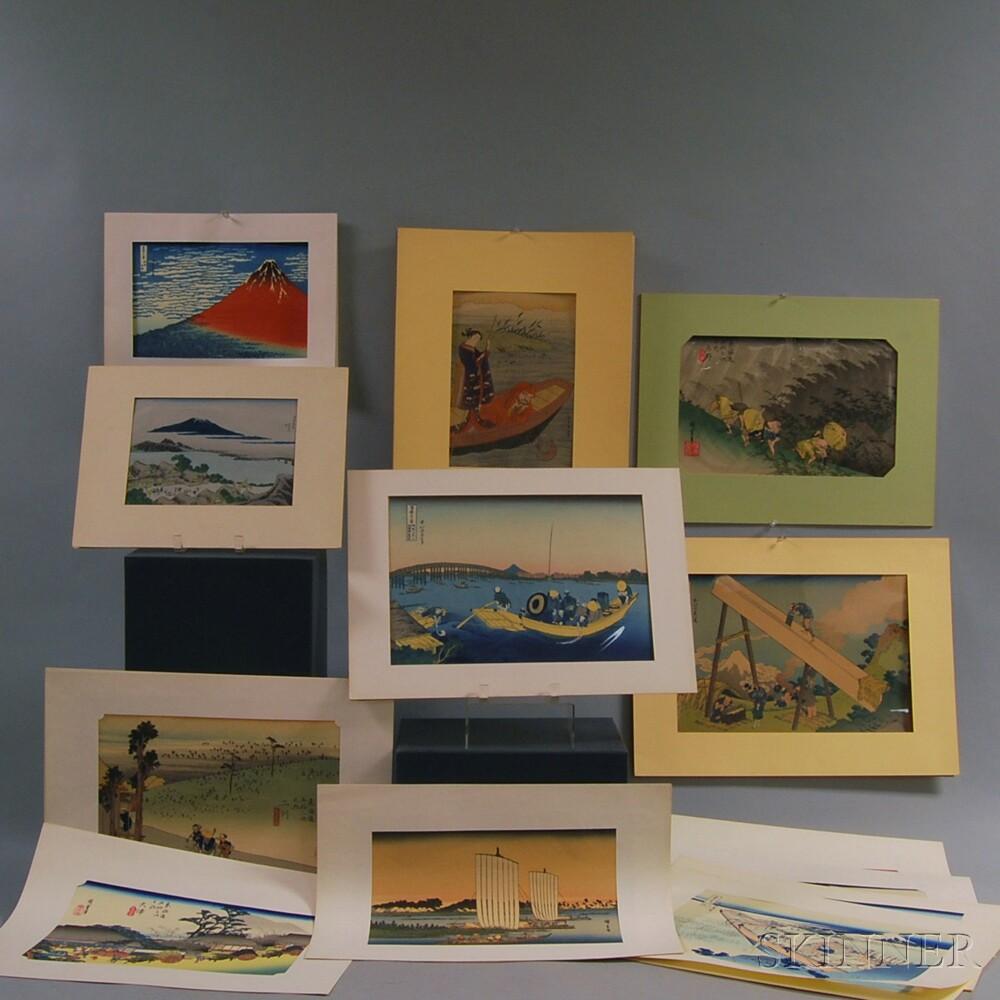 Fifteen Japanese Woodblock Prints After Hiroshige, Hokusai,      and Harunobu