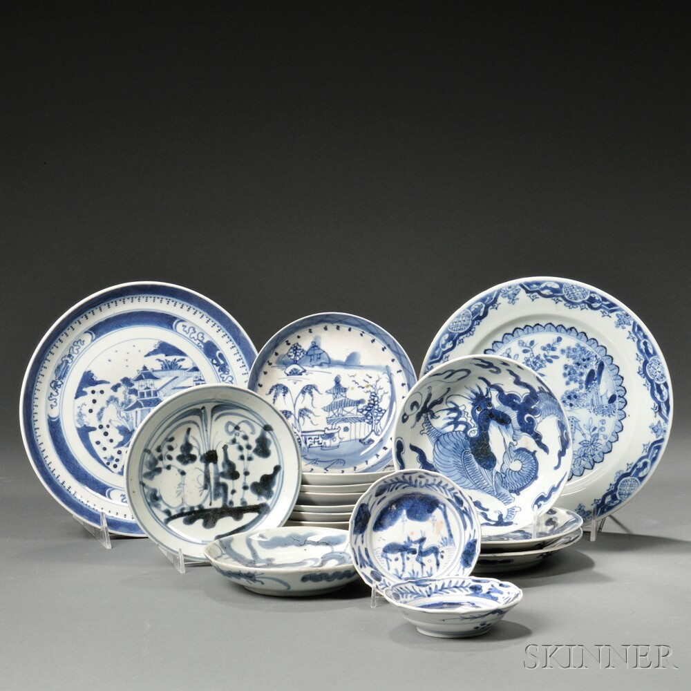 Sixteen Blue and White Tableware Items