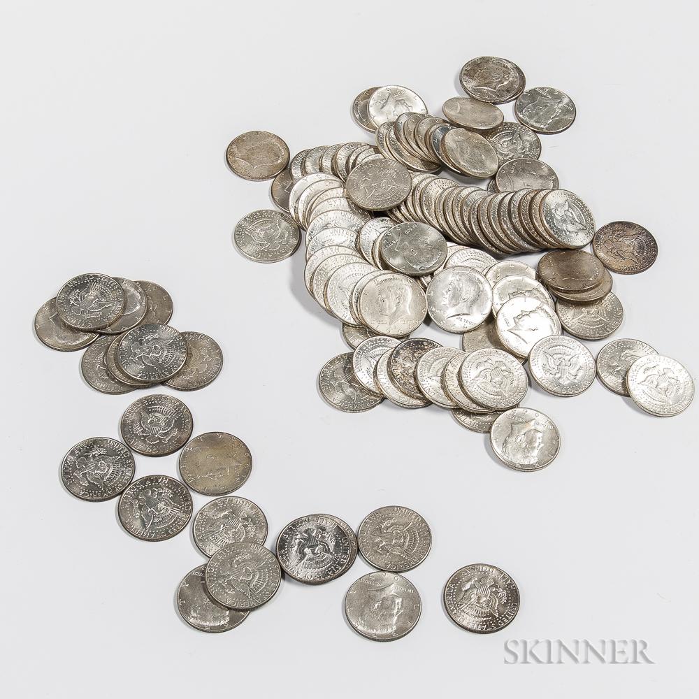Ninety-two 1964 Kennedy Half Dollars and Twenty Clad Kennedy Half Dollars.     Estimate $400-600
