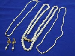 Long Strand Cultured Pearls, with Two Other Pearls Necklace and Earrings.
